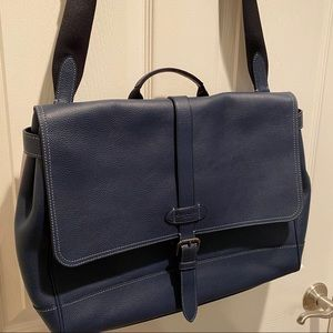 Coach Navy Pebbled Leather Messenger